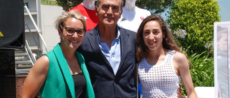 Priscila Borja, Pablo Naranjo y Olga Carmona en la presentación del II Clinic Internacional de Fútbol Femenino